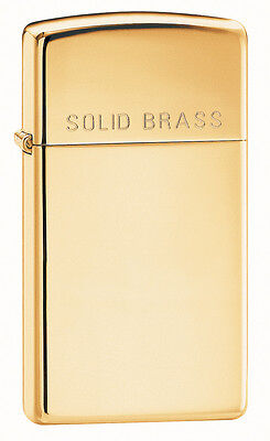 High Polished - Zippo Windproof, Slim High Polished Solid Brass Lighter, 1654,  New In Box