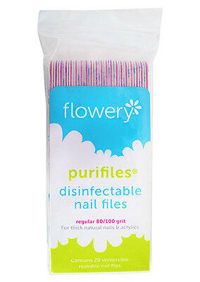 Purifiles by Flowery 20 Pink Nail Files 80/100 Reusable Disi