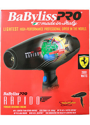 BABYLISSPRO BABYLISS BABF7000 Rapido Ferrari Designed Engine Hair Dryer, 2000 W