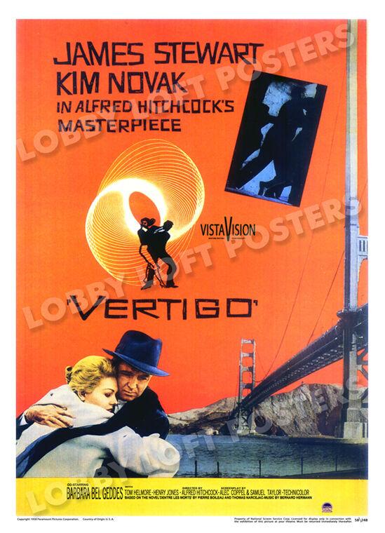 VERTIGO LOBBY CARD POSTER OS 1958 JAMES STEWART KIM NOVAK ALFRED HITCHCOCK