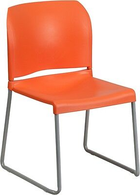 Heavy Duty Sled Base Orange Plastic Office Stackable Chair - Waiting Room Chair