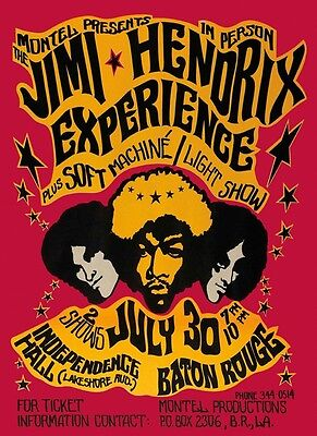 Jimi Hendrix Experience Music Baton Rouge Guitar Vintage Poster Repro Free S H