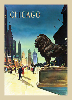 American USA Chicago Illinois Windy City Travel Vintage Poster Repro FREE S/H (Usa Windy City)