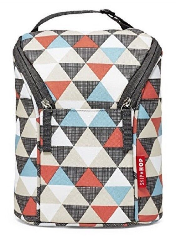 NEW Skip Hop Grab-and-Go Insulated Double Bottle Bag, Triangles