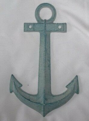 Blue Weathered Finish LARGE Cast Iron Anchor Wall Hanging Decor Nautical