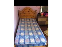 Solid Pine Single Bed plus mattress