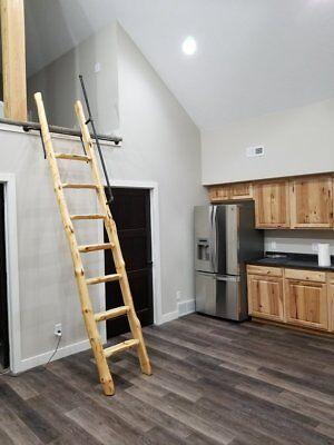 Custom made Rustic Pine Loft Library Ladder half-Log,Cabin,Attic,Wood,Wooden
