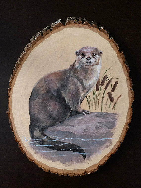 OTTER Original Animal Wildlife Acrylic Painting Wood Art Artwork Canada Realism