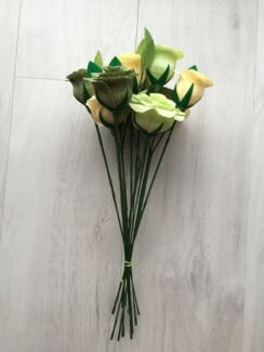 Crepe Paper Roses - vanilla, sage and lime handmade bunch of 12 Docklands Melbourne City Preview