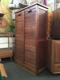 1940s French Double Tambour Storage Cabinet. Vintage/Retro/Mid Century