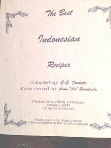 Indonesian Cookbook Handmade (Pierrefonds) West Island Greater Montréal image 2