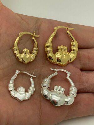 925 Solid Sterling Silver Polished Claddagh Hoop Earrings, Irish -