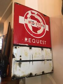 Original Enamel London Bus Request Stop Sign! Vintage/Retro/Mid Century