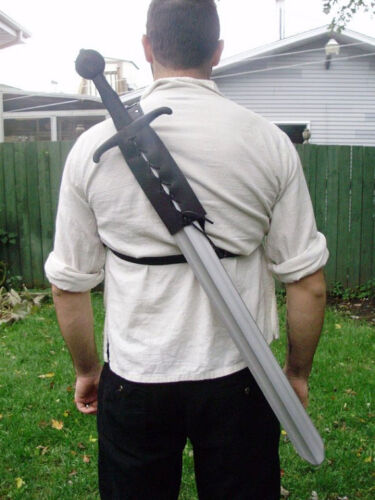 Leather back scabbard for latex sword for reenactment, LARP, cosplay.