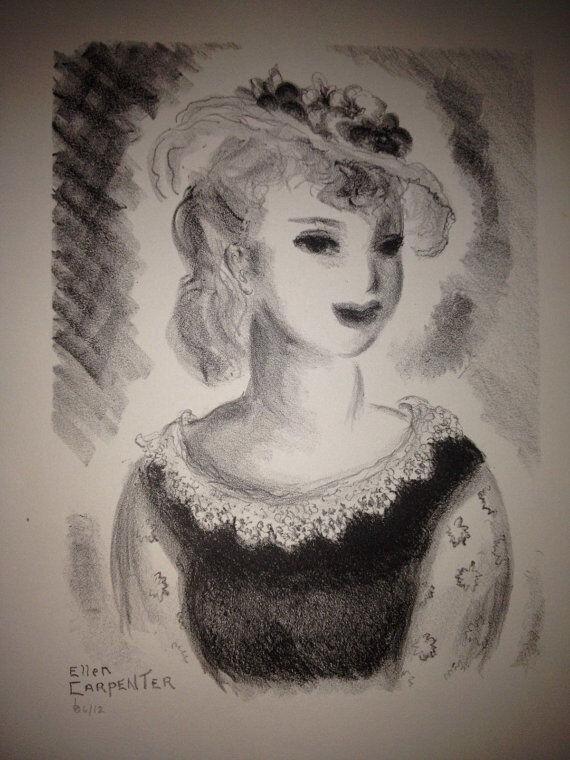 Ellen Carpenter Listed California Artist Art Deco Woman Stone Lithograph Great!