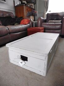 Blanket box in distressed misty grey hues