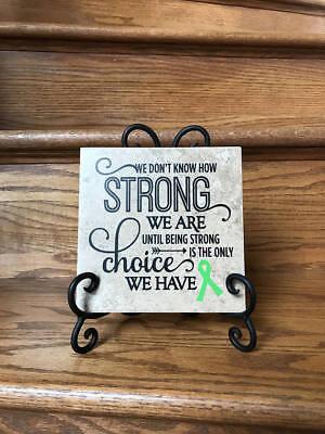 Green ribbon Cancer survivor gift, cancer gift, Ceramic Tile 6x6 lymphoma