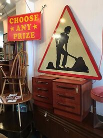 1960's 'Men at Work' Vintage French Road Sign. Retro/Mid Century