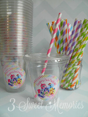 Personalized Cups With Lids (Set of 24- Personalized My Little Pony Party Cups with Lids and)