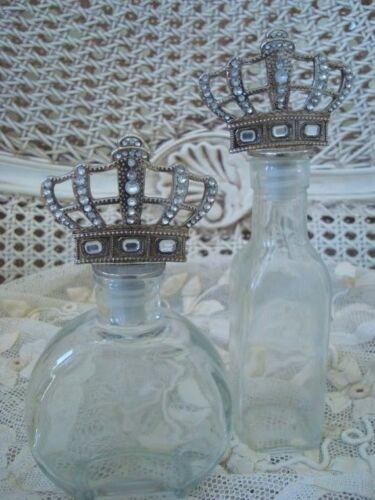 Two French Rhinestones Crown Topper Glass Bottles **BLING BLING**