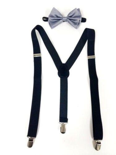 New Silver Bowtie And Black Suspenders Set Tuxedo Wedding Suit