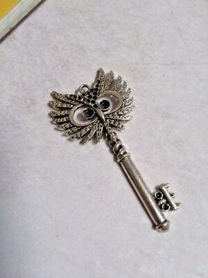 Skeleton Key Pendant Antiqued Silver Owl Key Charm Steampunk