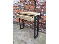 Side table with a drawer, reclaimed timber and steel