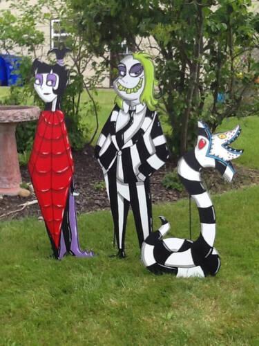 Hand Painted set of 3 Beetlejuice Lydia and Sandworm Yard Art