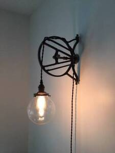 Architectural Metal Wall Light with Glass Glob