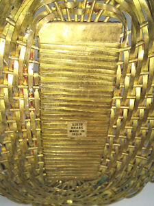 Vintage Solid Brass Basket Hand Woven India --Pierrefonds--- West Island Greater Montréal image 3