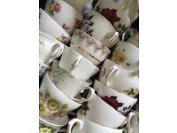 88 Pretty Vintage Tea Cups NO SAUCERS - ideal for Tea parties