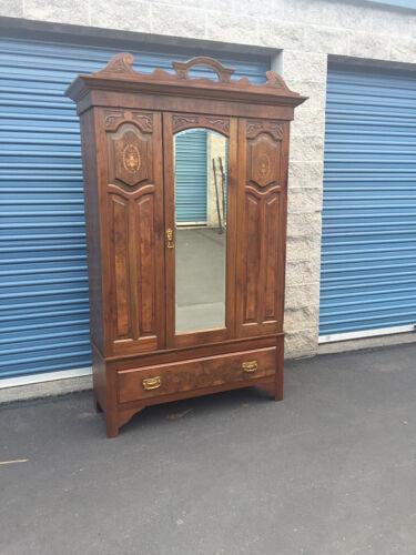 Antique Armoire with Inlay, Mahogany Wardrobe w/ Mirror, Antique Bedroom Closet