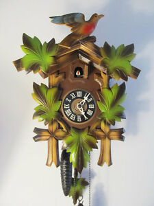 Vintage German Black Forest Cuckoo Wall Clock, Hand Carved