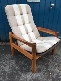 1960s Domino Mobler Teak and Wool Arm Chair. Vintage/Retro/Danish/Mid Century