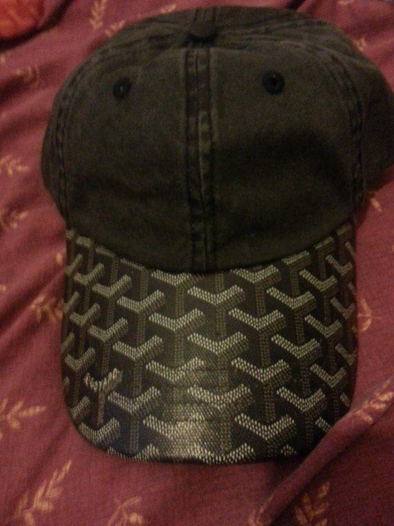 8013f593d32 ... free shipping new goyard black leather brim hat cap dad strapback chris  brown a0ae8 dece3