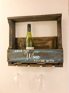 Rustic wine racks with hand-painted quotes, delivery