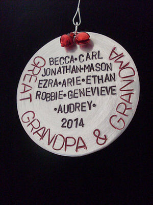 - Personalized Grandparents Jingle Bell Custom Colors Handmade Ornament with NAMES