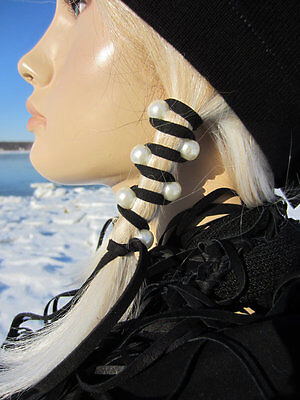 Ponytail Holders Black Leather Hair Wraps Ties Beads Bohemian Clothing Jewelry