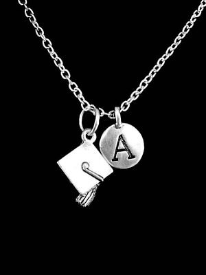 Graduation Cap Necklace Class Of 2019 Initial Gift For Graduate Jewelry](Graduation Necklaces)