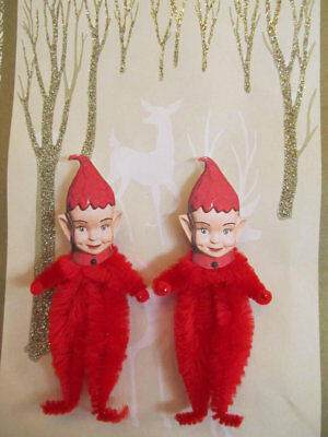 RED PIXIE ELF Vintage Style Chenille Christmas Ornaments - Set of 3 (Christmas Elf)