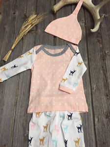 3pc Pink Poka Dot & Oh Deer Baby Gear Outfit (6-9m)
