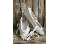 Vintage style ivory embelleshed bridal ballet flats with satin ribbon ankle tie