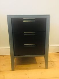 Mid-century style three drawer bedside table - must sell today or tomorrow