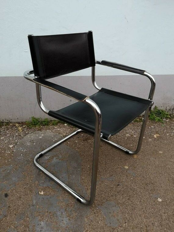 1970s Italian Chrome And Leather Marcel Breuer Style Arm Desk Chairs Vintage Retro Mid Century