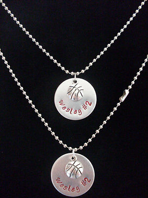 CUSTOM Name Personalized Basketball Necklace - handmade to order silver aluminum