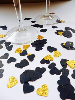 Black and Gold Glitter Heart Confetti - hand made confetti! Table decoration. - Black And Gold Table Decorations
