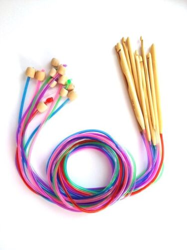 "New! 47"" Set of 12 Bamboo Afghan Tunisian Crochet Needles Hook C-N 3-10mm Color"