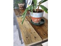 Stylish Reclaimed Wood and Steel Table