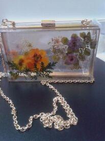 Handmade pressed flower clutch/ handbag