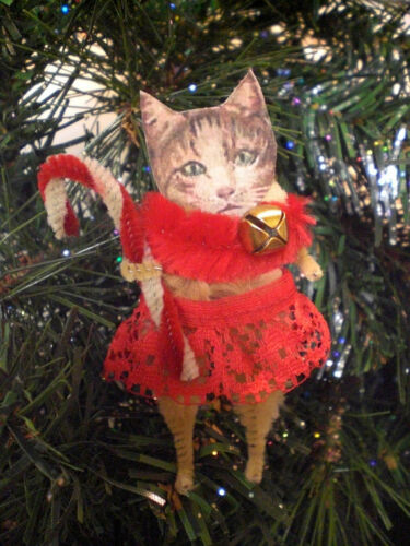 "CHRISTMAS TABBY CAT 3.5"" Chenille Holiday Ornaments - Cardstock Faces - Set of 2"